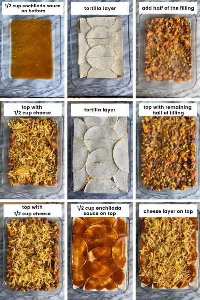 Butternut Squash Enchilada Casserole - layering collage