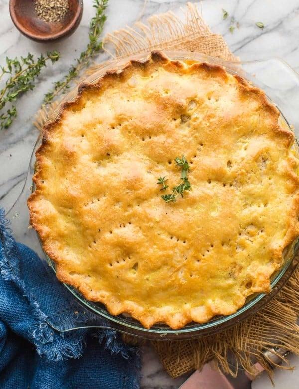 gf turkey pot pie with thyme on top