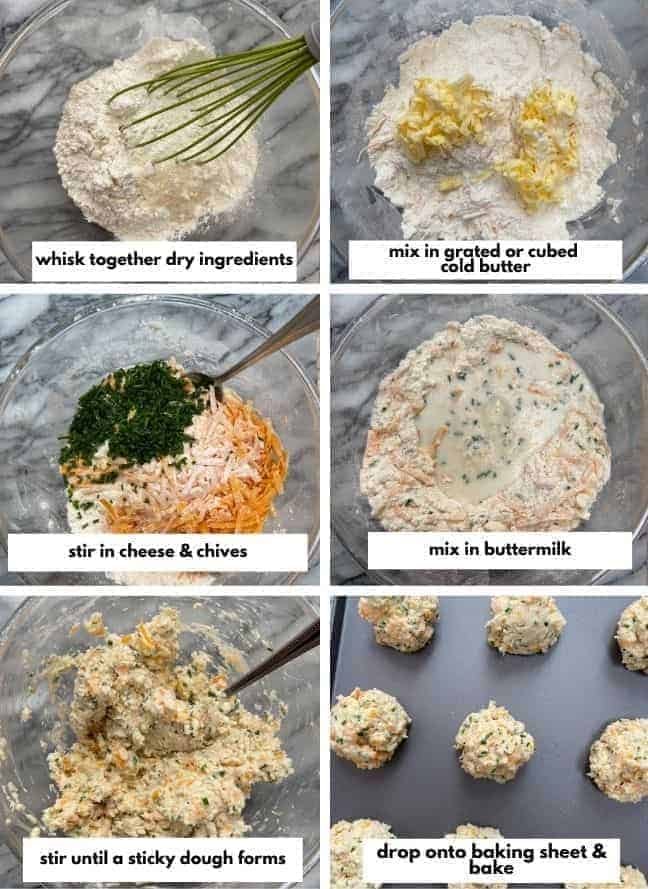Gluten Free Cheesy Chive Biscuits collage