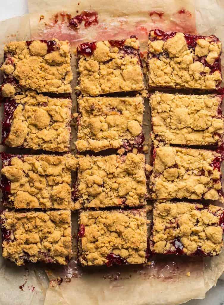 Gluten Free Cranberry Crumble Bars cut into 12 bars