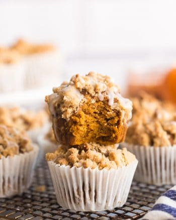 Pumpkin & Gingerbread Crumb Muffins on a cooling rack