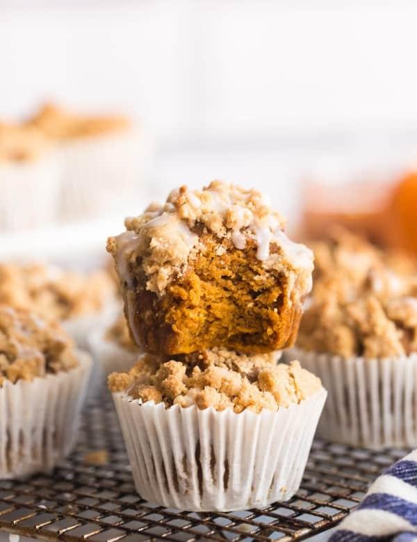 Pumpkin & Gingerbread Crumb Muffins on a cooling rack