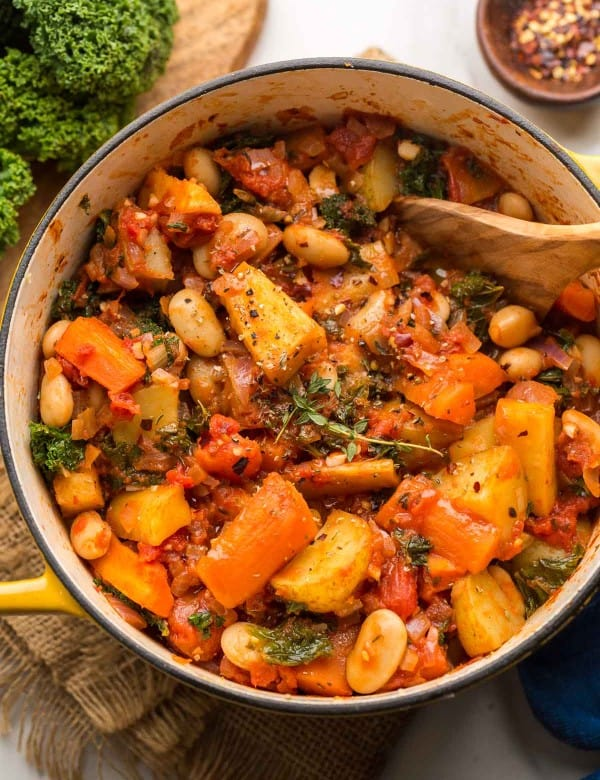Roasted-Root-Vegetable-Stew in a yellow pot