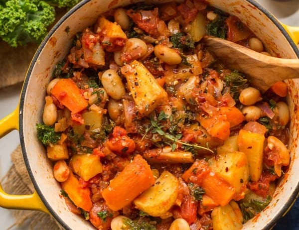 Roasted-Root-Vegetable-Stew in a pot