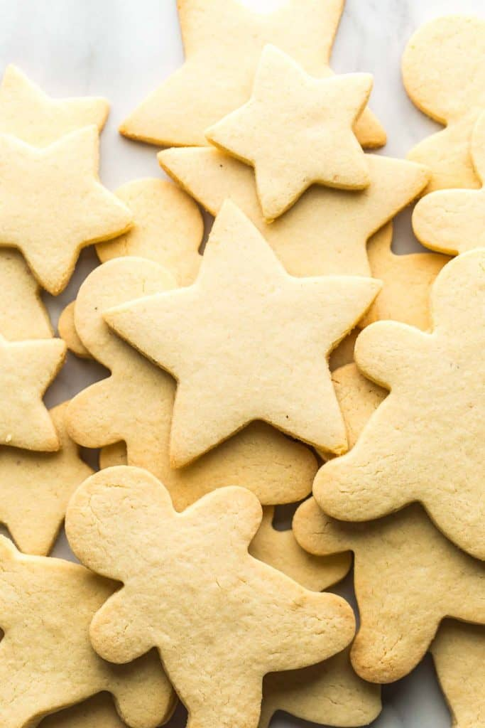 Almond Flour Sugar Cookies unfrosted in a pile