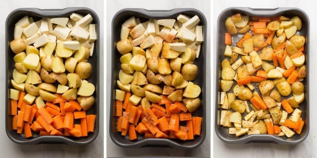 root vegetable roasting collage