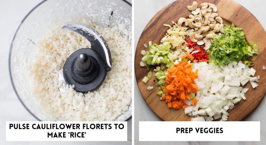 Cauliflower Egg Fried Rice veggies prepped