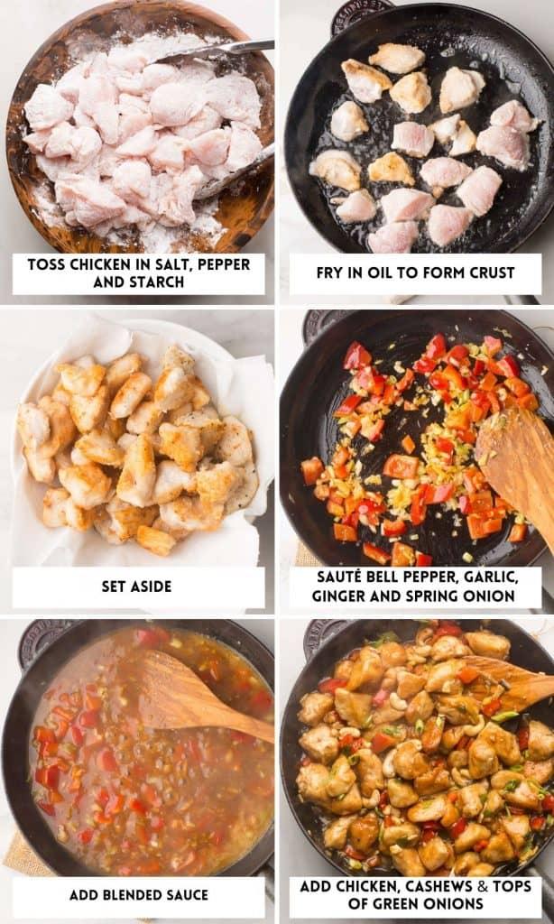 paleo cashew chicken collage