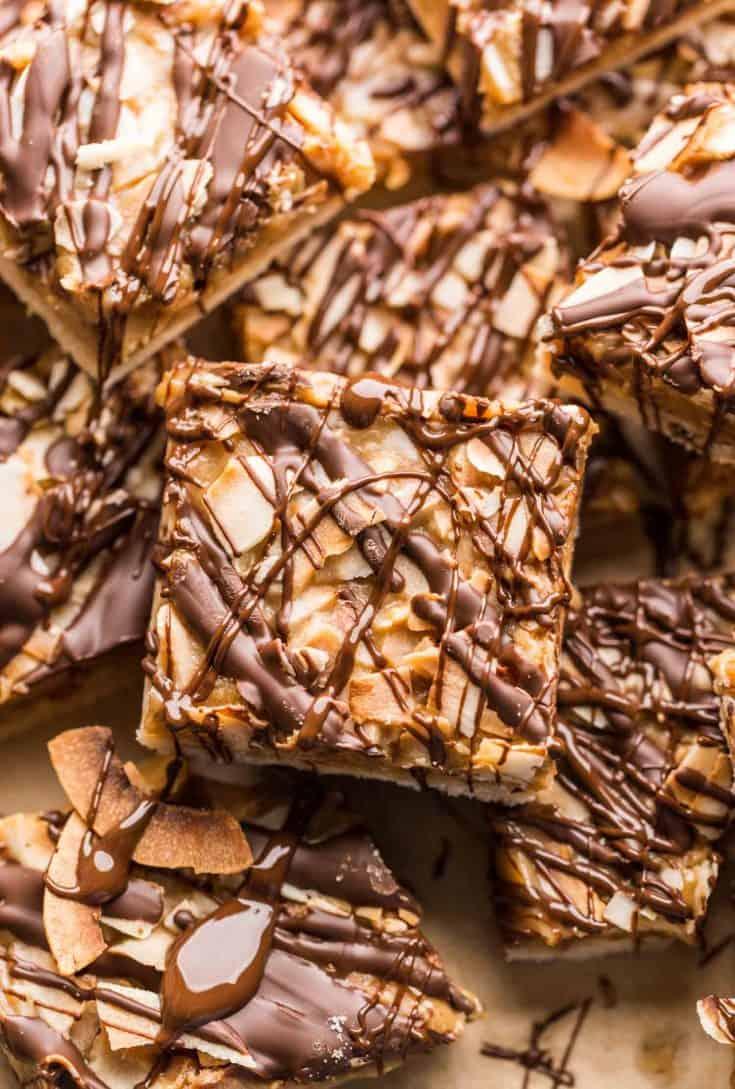 Healthier-No-Bake-Samoas-Cookie-Bars up close