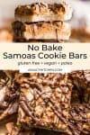 Healthier No Bake Samoas Cookie Bars pin graphic