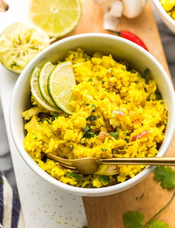 Instant Pot Coconut Lime Chicken and Rice in a bowl