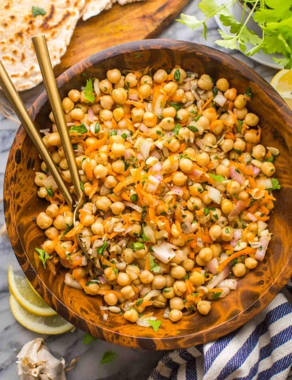 Sweet-Shallot-Chickpea-Salad in a salad bowl