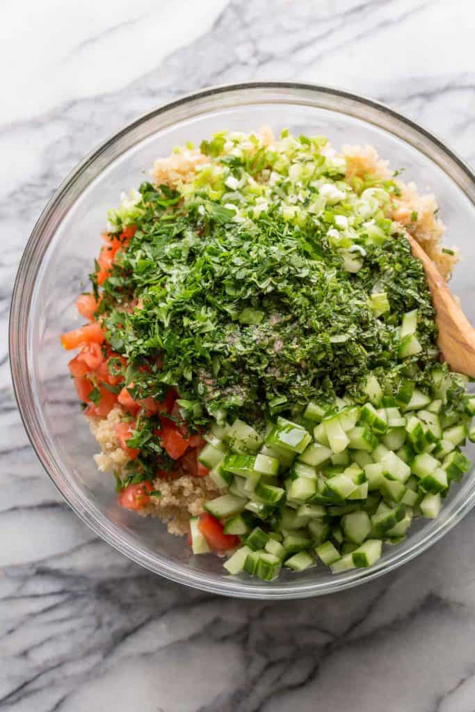 Tabbouleh Chickpea Quinoa Salad - all the ingredients unmixed in a big bowl