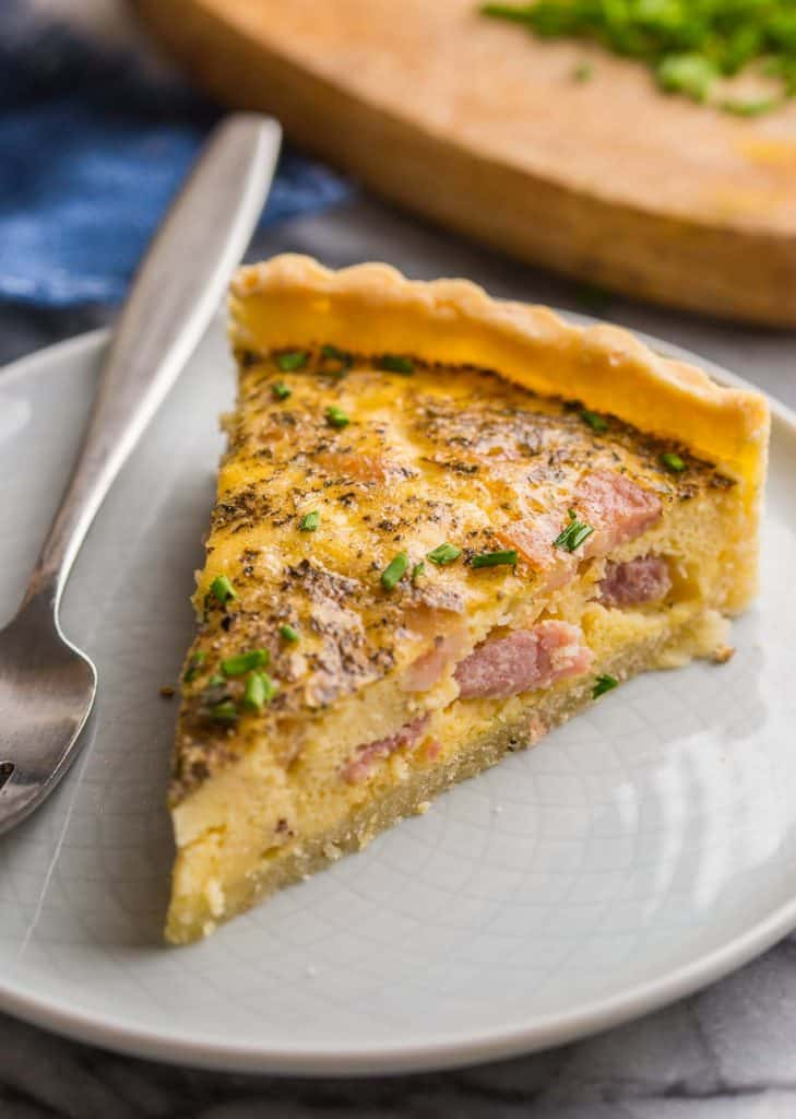 slice of Dairy Free Quiche Lorraine on a small plate