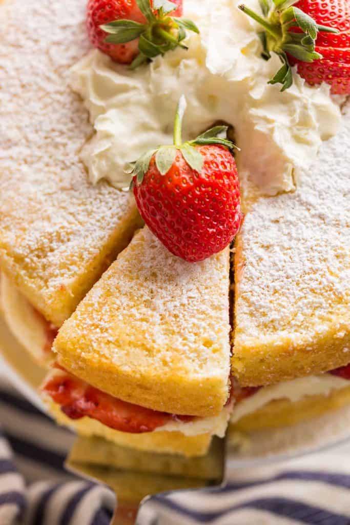 up close slice of Gluten Free Victoria Sponge Cake