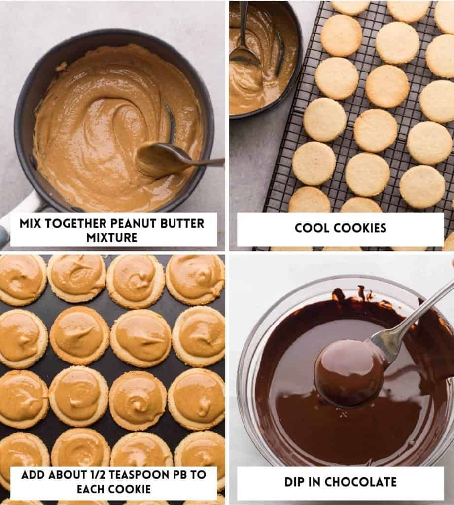 cookie filling and dipping collage