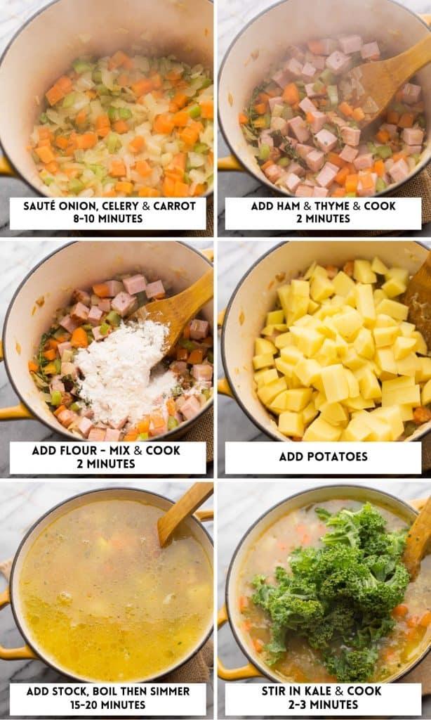 ham and potato soup collage