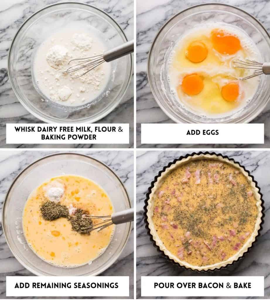 Dairy Free Quiche Lorraine (Low FODMAP) collage for filling