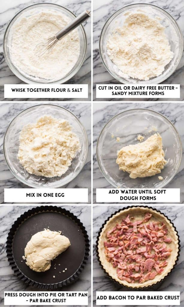 Dairy Free Quiche Lorraine (Low FODMAP) collage for crust