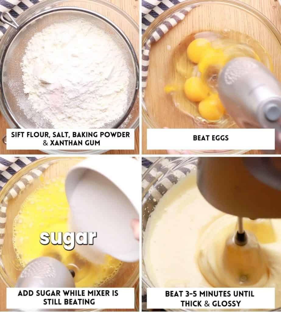 Gluten Free Victoria Sponge Cake - eggs & flour collage