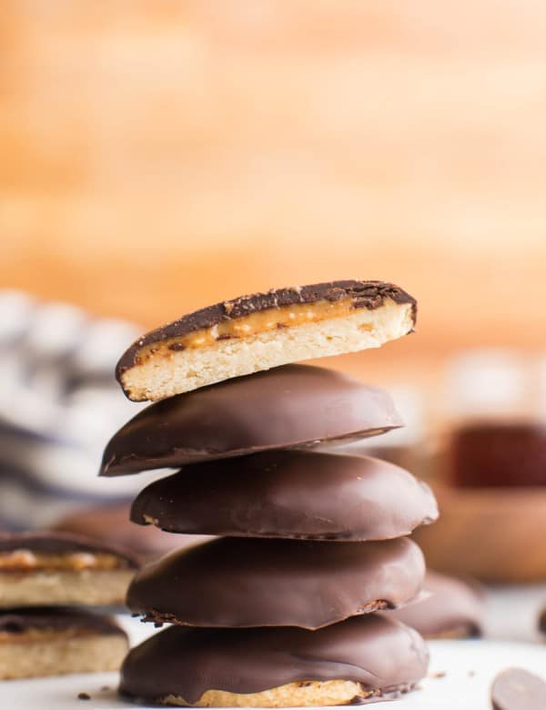 taglongs cookies stacked on top of each other
