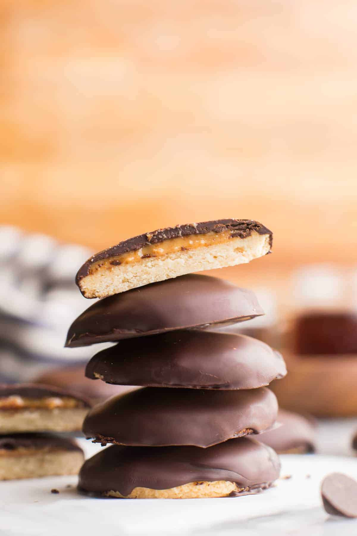 Healthier Homemade Tagalongs (Girl Scout Peanut Butter Cookies)