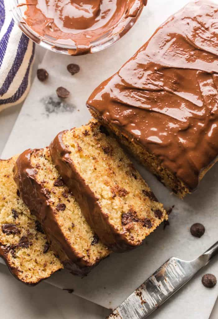 Grain Free Chocolate Chip Loaf Cake sliced on a cutting board