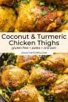 Golden Coconut Turmeric Chicken Thighs pin graphic