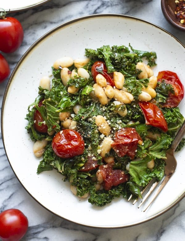 Blistered Cherry Tomatoes with Kale & Cannellini Beans