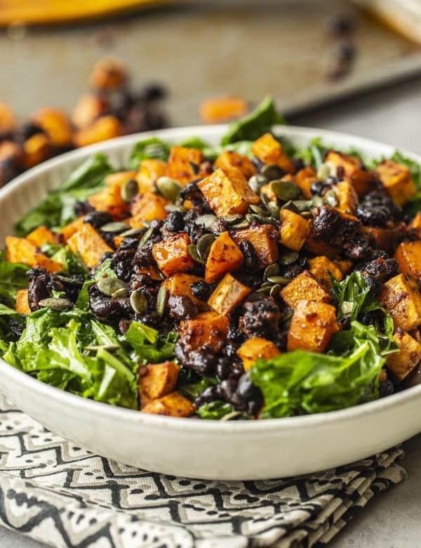 Chipotle Roasted Sweet Potato & Black Bean Kale Salad