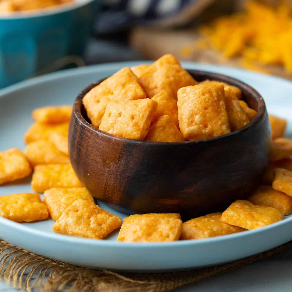 gluten Free Cheese Crackers in a small bowl