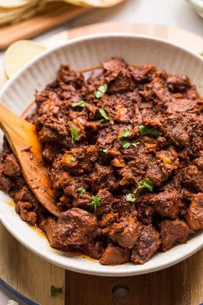 Instant Pot Adobada Tacos shredded in a bowl