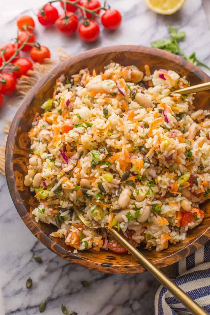bean and rice salad mixed together in salad bowl