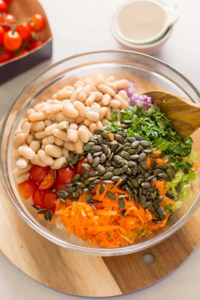 ingredients for bean and rice salad before mixed together
