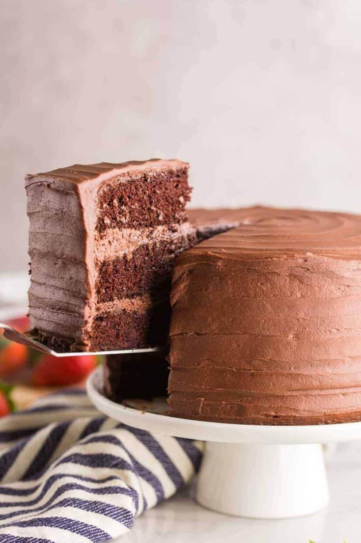 spatula picking up a slice of chocolate cake