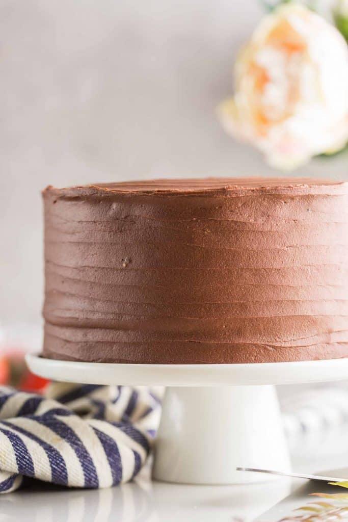 gluten fre e chocolate cake on a cake stand