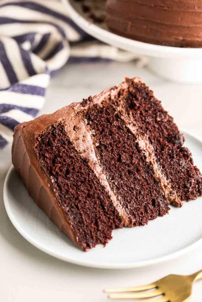 slice of chocolate cake on plate