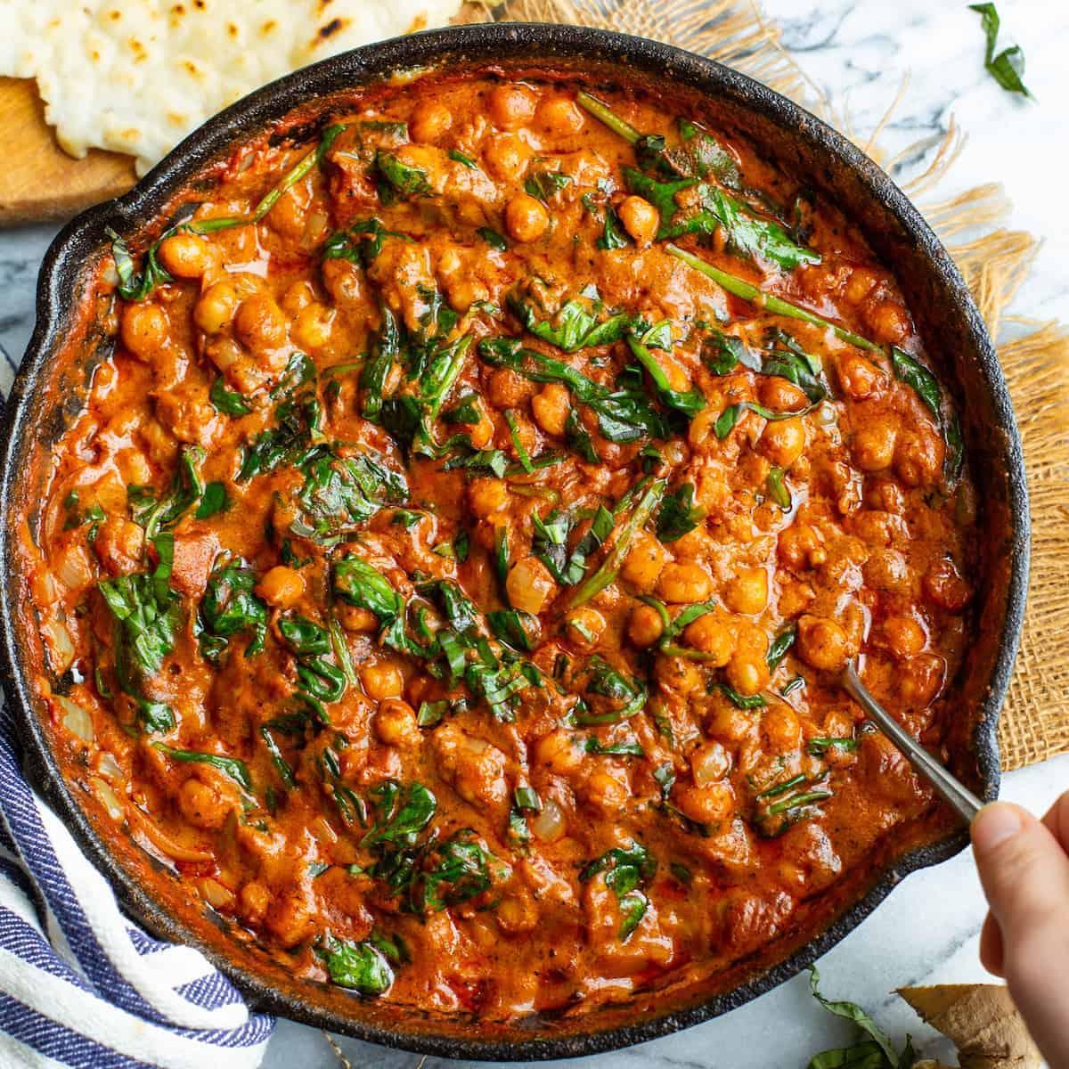 Tomato Basil Coconut Chickpea Curry