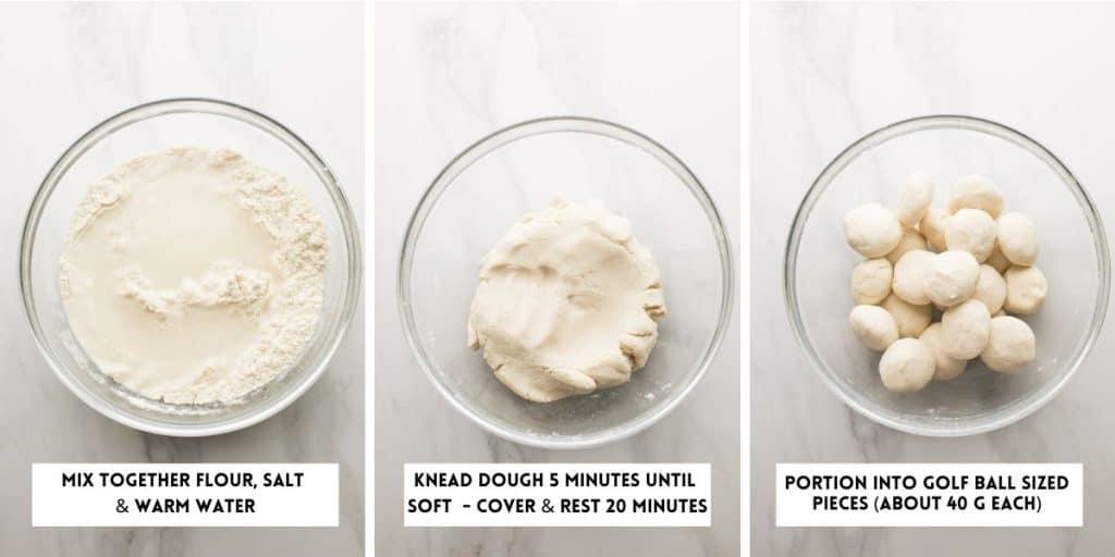 Corn Tortilla Recipe (without a tortilla press) dough collage
