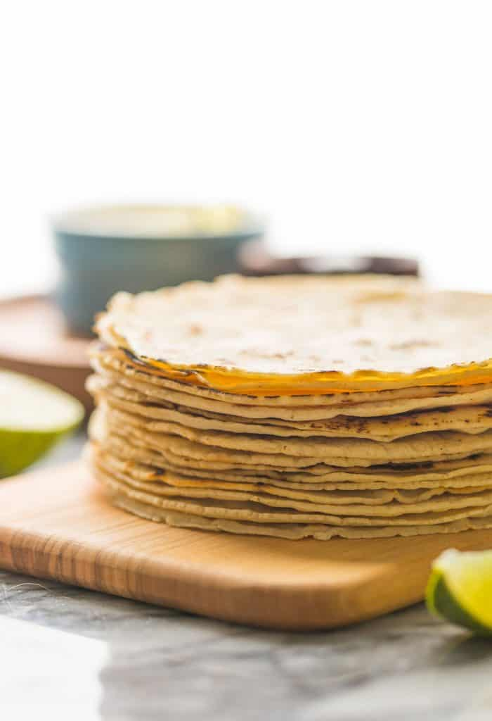 stack of corn tortillas from the side