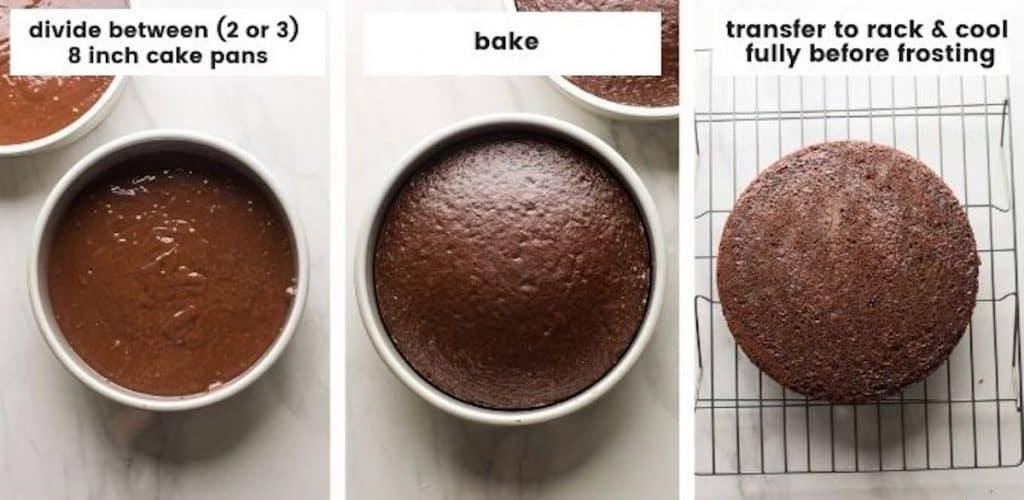 cake batter collage in cake pans
