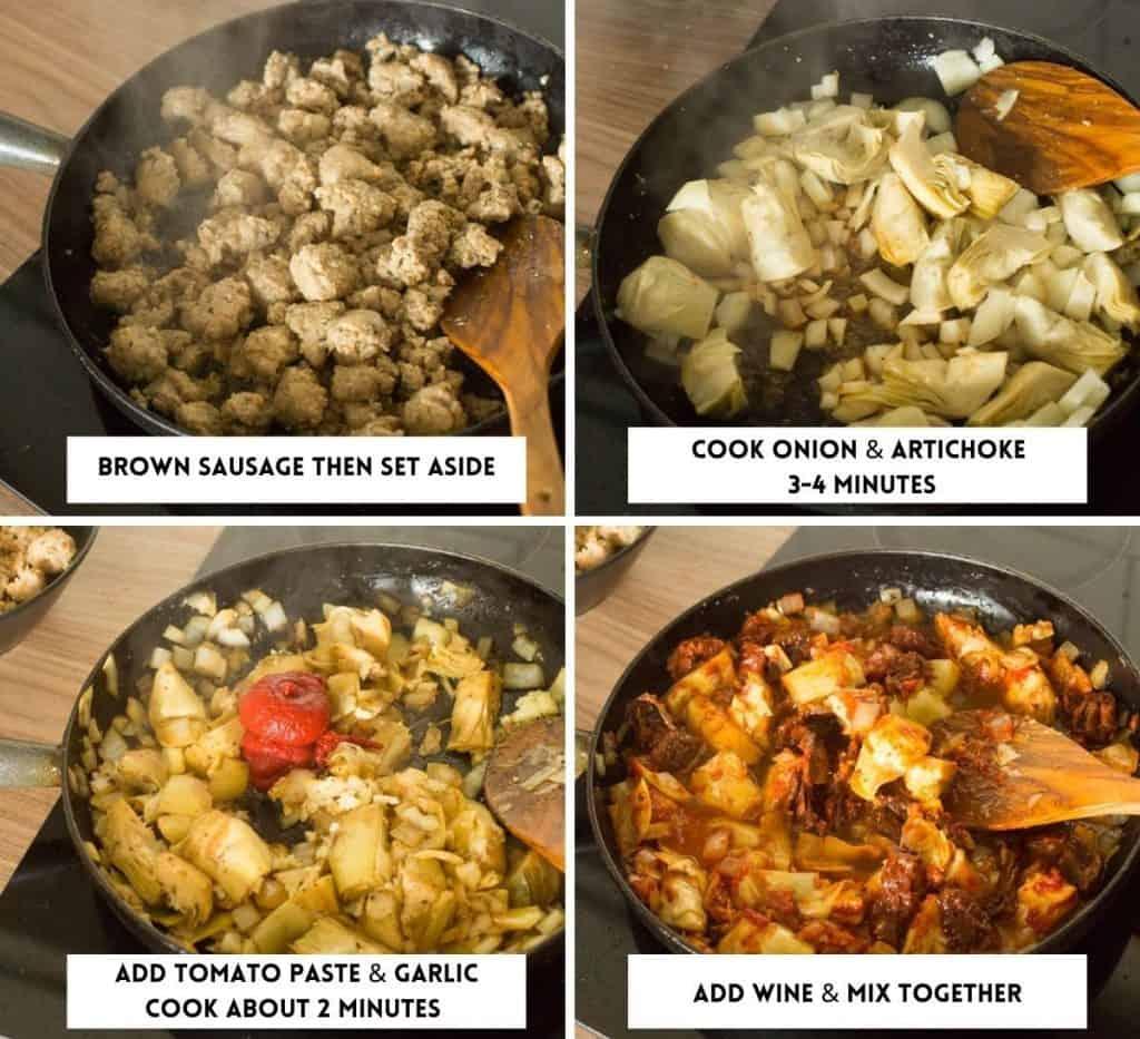 Stove Top Italian Sausage Quinoa Casserole collage 1