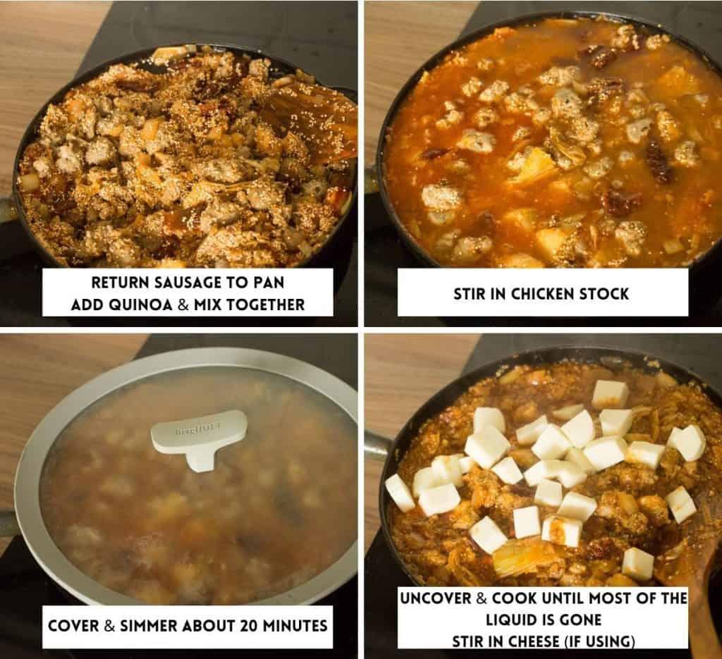 Stove Top Italian Sausage Quinoa Casserole collage 2