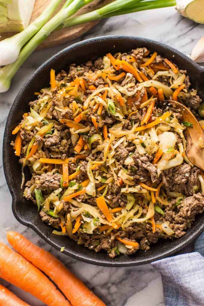 Beef and Cabbage Stir Fry in a cast iron skillet