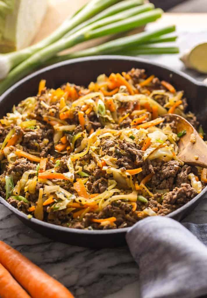 up close Beef and Cabbage Stir Fry in skillet