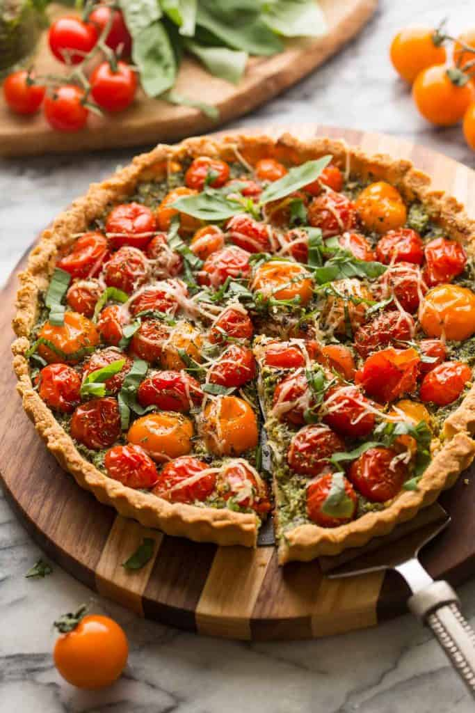 Almond Flour Tomato Tart with a slice cut out