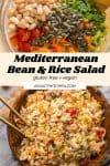 Mediterranean bean and rice salad pin graphic
