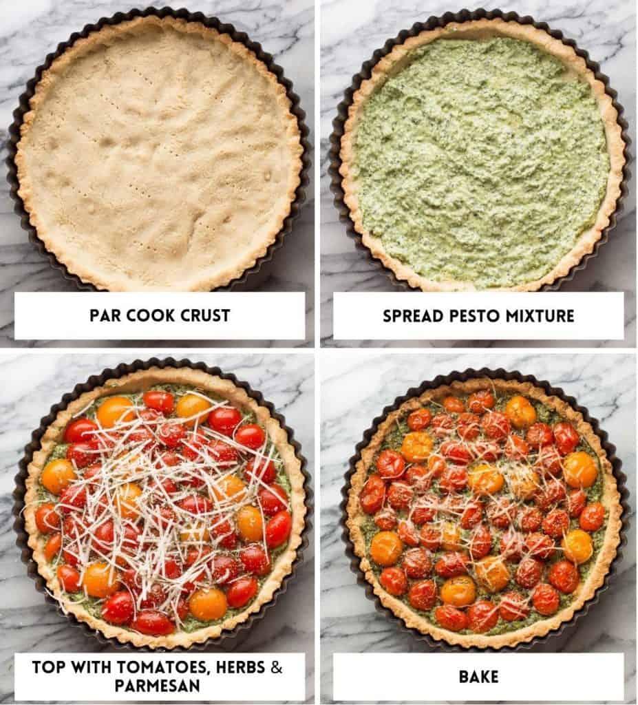 Almond Flour Tomato Tart collage