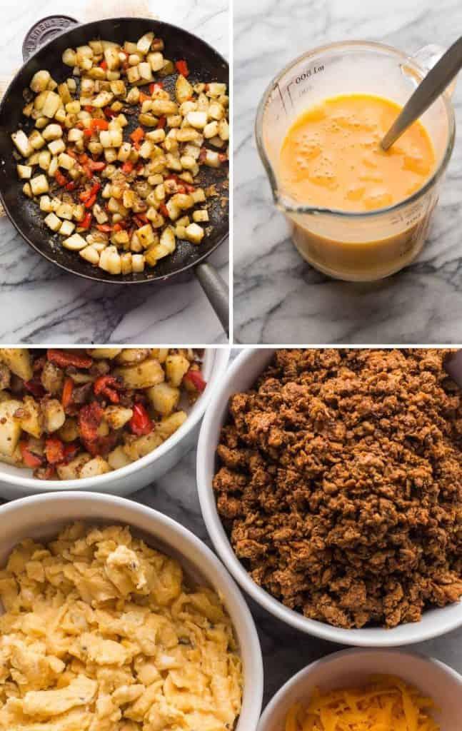 burrito ingredients collage