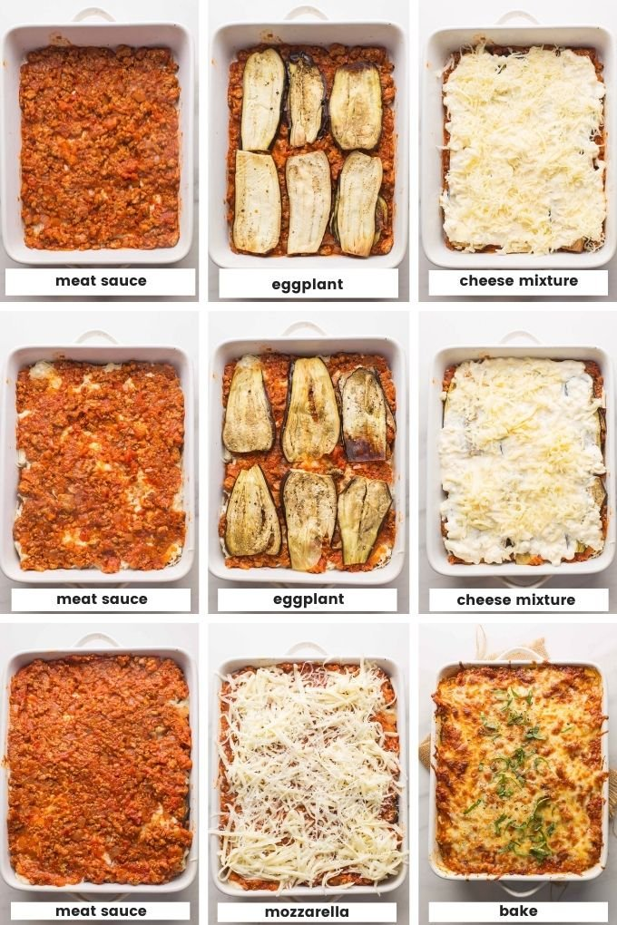 lasagna assembly collage